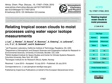 Relating Tropical Ocean Clouds to Moist ... by Lee, J.