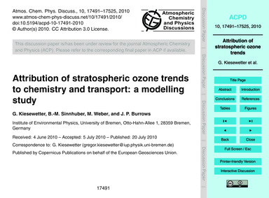 Attribution of Stratospheric Ozone Trend... by Kiesewetter, G.