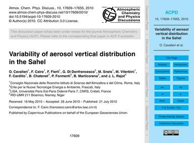 Variability of Aerosol Vertical Distribu... by Cavalieri, O.