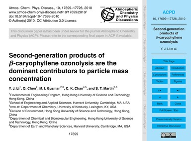 Second-generation Products of Β-caryophy... by Li, Y. J.