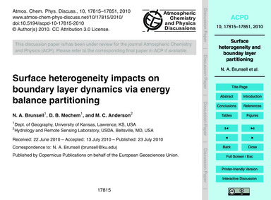 Surface Heterogeneity Impacts on Boundar... by Brunsell, N. A.