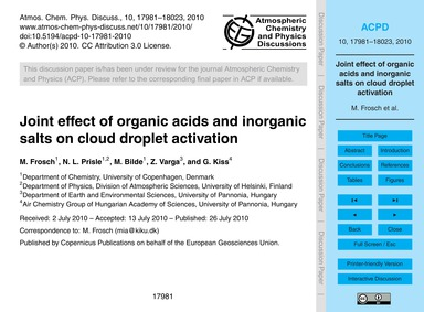 Joint Effect of Organic Acids and Inorga... by Frosch, M.
