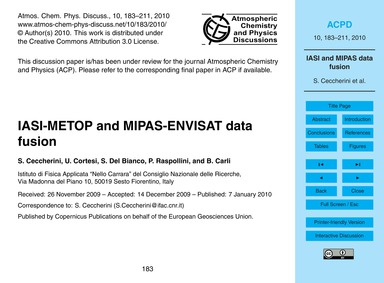 Iasi-metop and Mipas-envisat Data Fusion... by Ceccherini, S.