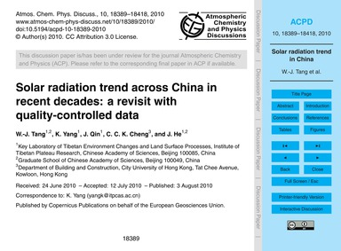 Solar Radiation Trend Across China in Re... by Tang, W.-j.