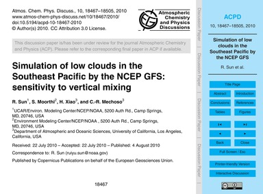 Simulation of Low Clouds in the Southeas... by Sun, R.