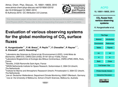 Evaluation of Various Observing Systems ... by Hungershoefer, K.