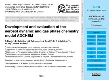 Development and Evaluation of the Aeroso... by Roldin, P.