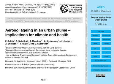 Aerosol Ageing in an Urban Plume – Impli... by Roldin, P.