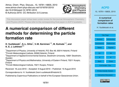 A Numerical Comparison of Different Meth... by Vuollekoski, H.
