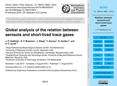 Global Analysis of the Relation Between ... by Veefkind, J. P.