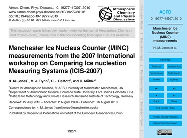 Manchester Ice Nucleus Counter (Minc) Me... by Jones, H. M.