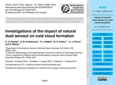 Investigations of the Impact of Natural ... by Koehler, K. A.