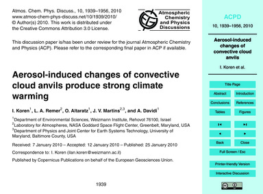 Aerosol-induced Changes of Convective Cl... by Koren, I.