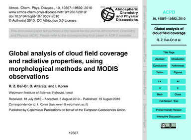 Global Analysis of Cloud Field Coverage ... by Bar-or, R. Z.