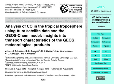 Analysis of Co in the Tropical Troposphe... by Liu, J.