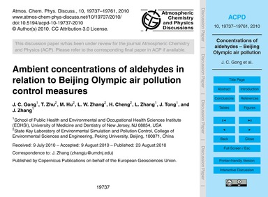 Ambient Concentrations of Aldehydes in R... by Gong, J. C.