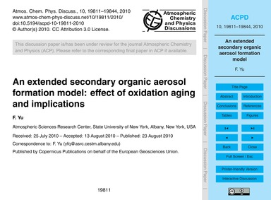An Extended Secondary Organic Aerosol Fo... by Yu, F.