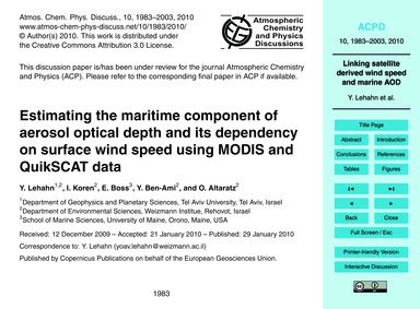Estimating the Maritime Component of Aer... by Lehahn, Y.
