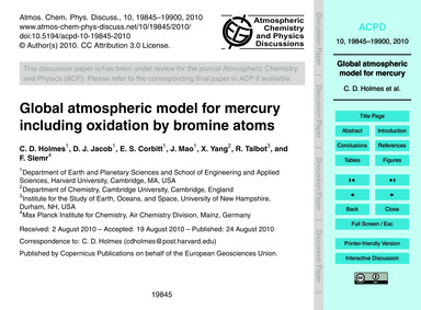 Global Atmospheric Model for Mercury Inc... by Holmes, C. D.
