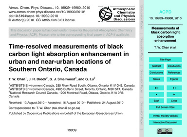 Time-resolved Measurements of Black Carb... by Chan, T. W.