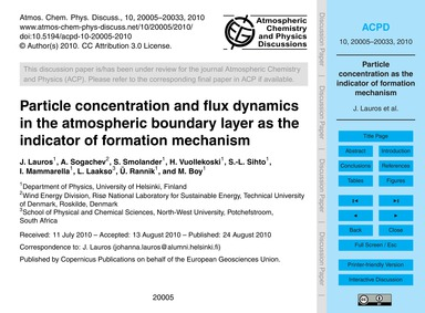 Particle Concentration and Flux Dynamics... by Lauros, J.