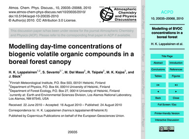 Modelling Day-time Concentrations of Bio... by Lappalainen, H. K.