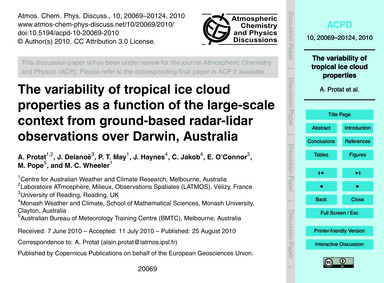 The Variability of Tropical Ice Cloud Pr... by Protat, A.