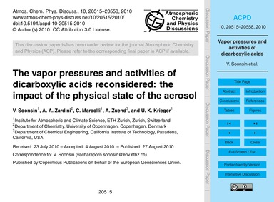The Vapor Pressures and Activities of Di... by Soonsin, V.