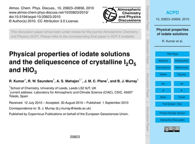 Physical Properties of Iodate Solutions ... by Kumar, R.