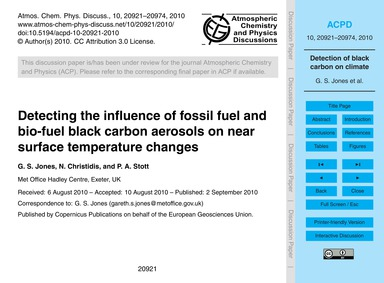 Detecting the Influence of Fossil Fuel a... by Jones, G. S.