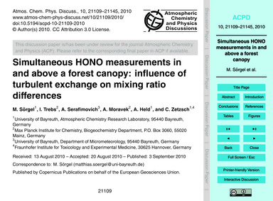 Simultaneous Hono Measurements in and Ab... by Sörgel, M.