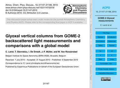 Glyoxal Vertical Columns from Gome-2 Bac... by Lerot, C.