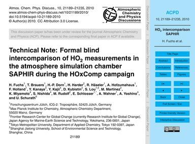 Technical Note: Formal Blind Intercompar... by Fuchs, H.