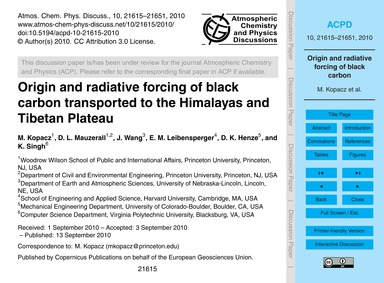 Origin and Radiative Forcing of Black Ca... by Kopacz, M.
