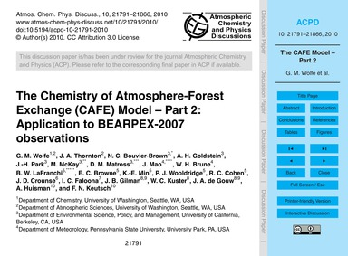 The Chemistry of Atmosphere-forest Excha... by Wolfe, G. M.
