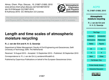 Length and Time Scales of Atmospheric Mo... by Van Der Ent, R. J.