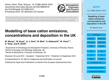 Modelling of Base Cation Emissions, Conc... by Werner, M.