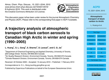 A Trajectory Analysis of Atmospheric Tra... by Huang, L.