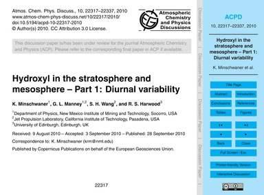 Hydroxyl in the Stratosphere and Mesosph... by Minschwaner, K.