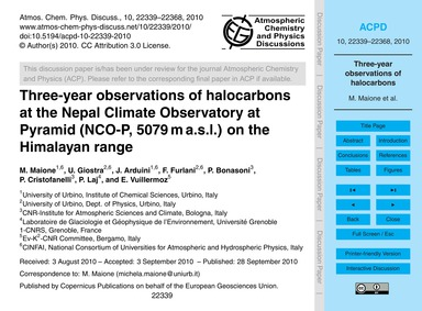 Three-year Observations of Halocarbons a... by Maione, M.