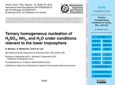 Ternary Homogeneous Nucleation of H2So4,... by Benson, D.