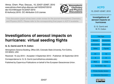 Investigations of Aerosol Impacts on Hur... by Carrió, G. G.
