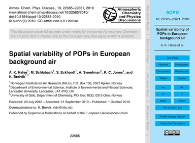 Spatial Variability of Pops in European ... by Halse, A. K.