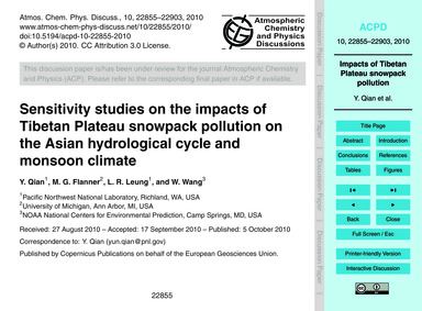 Sensitivity Studies on the Impacts of Ti... by Qian, Y.