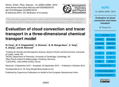 Evaluation of Cloud Convection and Trace... by Feng, W.