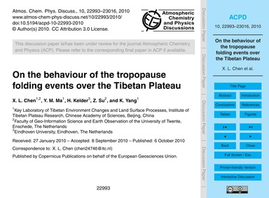 On the Behaviour of the Tropopause Foldi... by Chen, X. L.