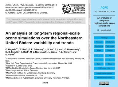 An Analysis of Long-term Regional-scale ... by Hogrefe, C.