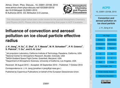 Influence of Convection and Aerosol Poll... by Jiang, J. H.