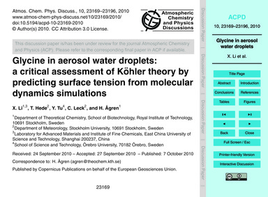 Glycine in Aerosol Water Droplets: a Cri... by Li, X.