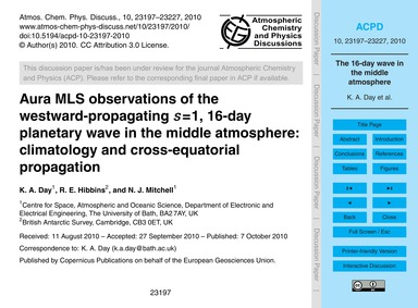 Aura Mls Observations of the Westward-pr... by Day, K. A.